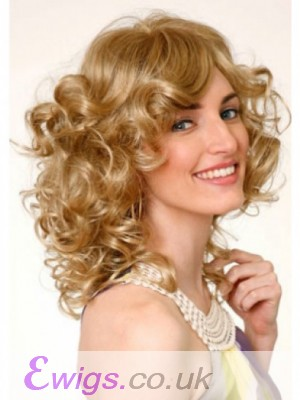 Medium Curly Monofilament Blonde Fashionable Wig