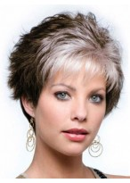 Capless Wavy Short Grey Wig with Wispy Bang