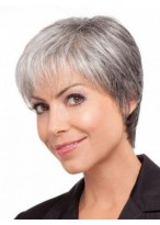 Short Straight Lace Front Grey Wig