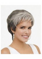 Synthetic Rounded Fringe Wavy  Grey Wig