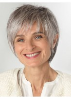 Gorgeous Grey Short Lace Front Synthetic Wig