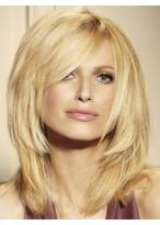 Medium Layered Human Hair Lace Front Blonde Wig