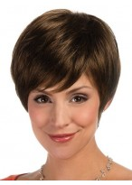 Lace Front Synthetic Cropped Wig With Asymmetric Fringe