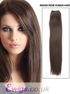 "18"" Long Straight Human Hair Extension With Clips"