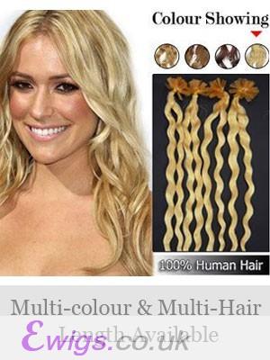 """20"""" Wavy Nail Tip 100% Human Hair Extensions"""