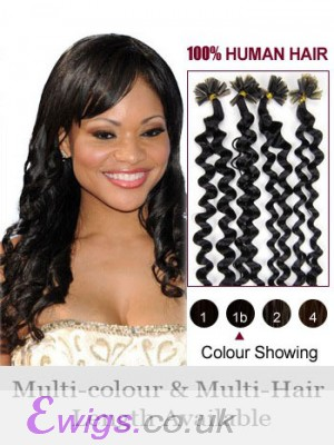 "20"" Natural Wavy Remy Hair Nail Tip Extension"