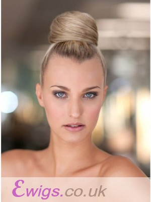 Blonde Synthetic Bridal Buns With Pressure Clip
