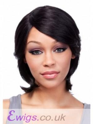 Capless Medium Popular Human Hair Wig With Bangs