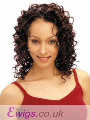 Comfortable Capless Curly Medium Human Hair Wig