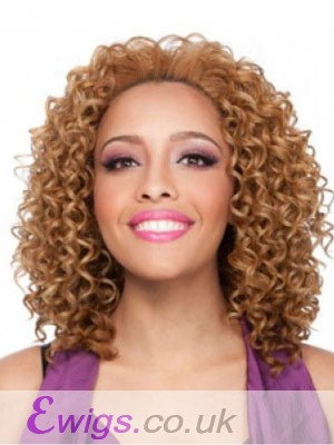 Curly Medium African American Wig Without Bangs