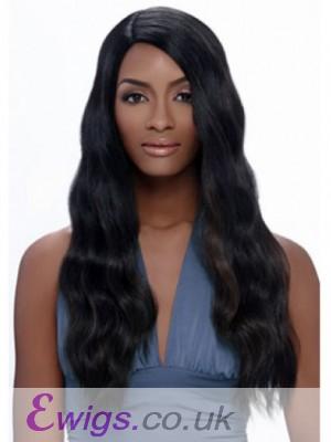 Beautiful Wavy Long African American Wig Without Bangs