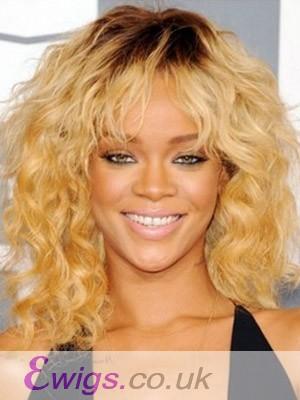 Rihanna Hairstyle Ringlet Wavy & Soft Fringe Wig