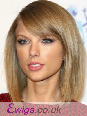 Taylor Swift Shimmering Straight Lace Front Synthetic Wig