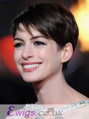 Anne Hathaway Pixie Lace Front Human Hair Wig