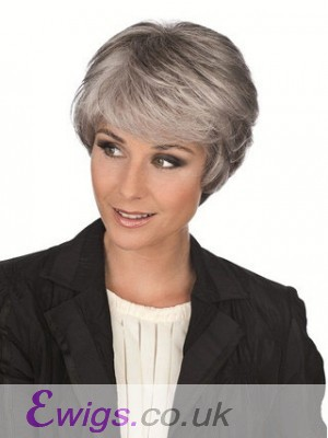 Side Long Fringe Synthetic Capless Grey Wig