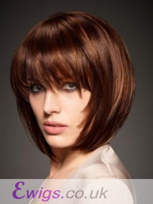 Silky Short Bob Wig With Eye-Length Full Bang