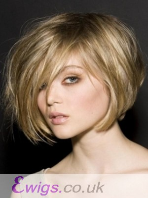 Blonde Stylish Women Straight Human Hair Wig