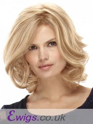 Medium Wavy Blonde Lace Wig