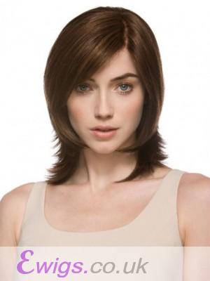 Natural Medium Wavy Monofilament Brown Beautiful Wig