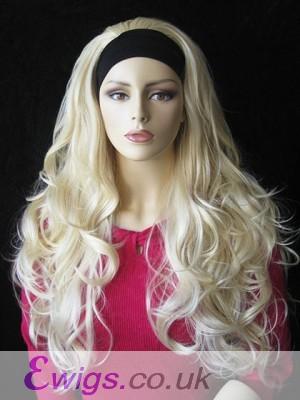 Long Synthetic Tumbling Wavy 3/4 Wig