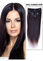 "16"" Long Straight Human Hair Extension With Clips"