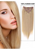 """14"""" Medium Straight Remy Hair Extension With Clips"""