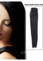 """18"""" Straight Remy Human Hair Extension With Clips"""