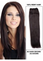 "16"" Straight No Clips Human Hair Extensions"