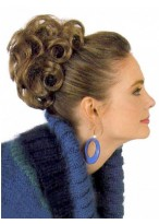 Brown Curly Synthetic Wrap with Pressure Clip