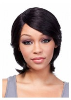 Capless Medium Popular Human Hair Wig With Bangs