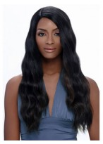 Beautiful Wavy Long African American Wig Without Bangs