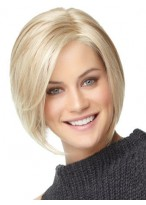 Straight Medium Length Human Hair Bob Wig