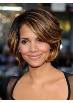 Brown Halle Berry's Side Parting Wavy Wig
