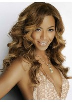 Long Beyonce Human Hair Lace Front Wavy Wig
