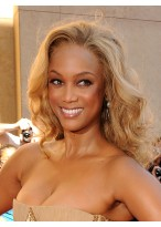 Tyra Banks Shimmering Lace Front Wavy Synthetic Wig