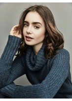 Lily Collins Wonderful Wavy Lace Front Synthetic Wig