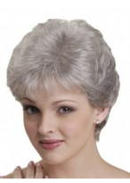 Grey Natural Straight Synthetic Capless Wig