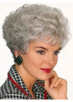 Short Crown Curls Grey Wig