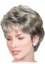 Grey Short Wavy Lace Front Wig