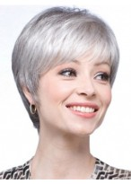 Lace Front Short Straight Synthetic Grey Wig