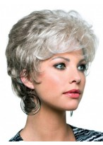 Capless Short Wavy Synthetic Grey Wig