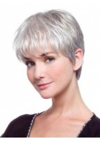 Lace Front Short Synthetic Straight Grey Wig