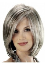 Angled Sides Capless Synthetic Grey Wig