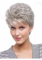Capless Graceful Wavy Short Grey Wig