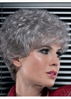 Stylish Synthetic Lace Front Grey Wig