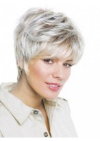 Short Layered Lace Front Straight Grey Wig