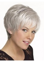 Short Synthetic Straight Grey Wig