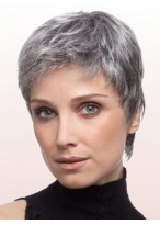 Layered Straight Lace Front Grey Wig