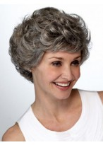 Lace Front Short Wavy Layers Grey Wig