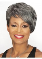 Side Swept Fringe Short Grey Wig